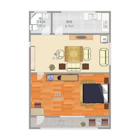 大华锦绣华城4街区1室1厅1卫1厨68.00㎡户型图