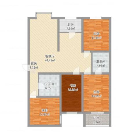 教授花园4室2厅2卫1厨158.00㎡户型图