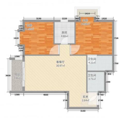牛街182室2厅2卫1厨104.00㎡户型图