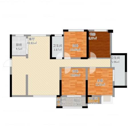 维一星城・原山苑4室1厅4卫1厨150.00㎡户型图