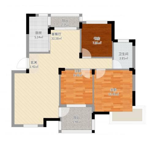 金水童话名苑3室2厅1卫1厨110.00㎡户型图
