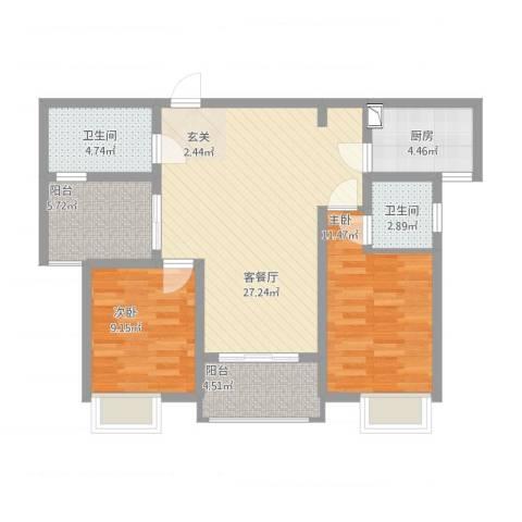 九华学府2室2厅2卫1厨102.00㎡户型图