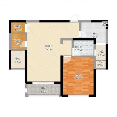 康桥半岛秀溪公寓1室2厅1卫1厨98.00㎡户型图