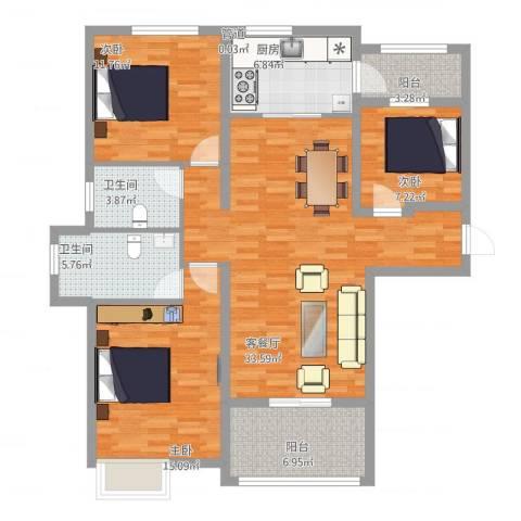 安阳碧桂园3室2厅2卫1厨135.00㎡户型图