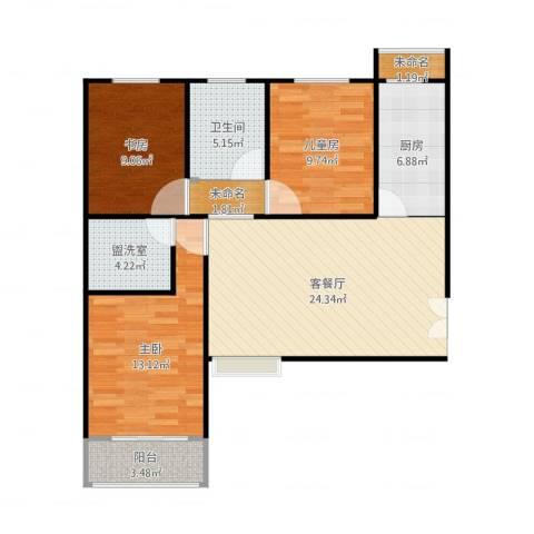 恒隆广场3室4厅1卫1厨105.00㎡户型图