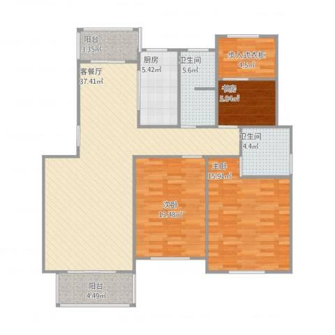 鼎盛花园3室2厅2卫1厨131.00㎡户型图
