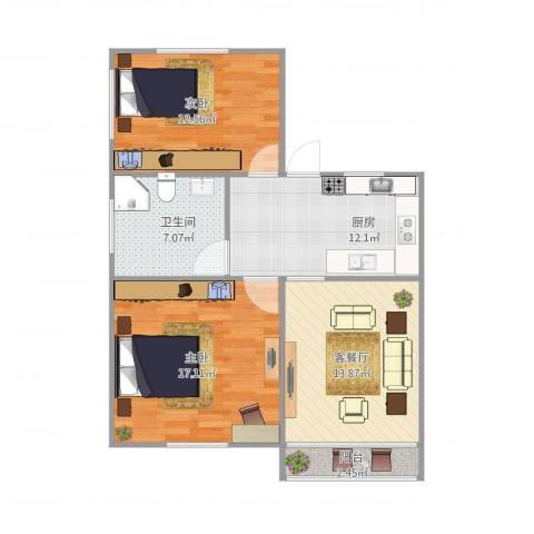 临沂一村2室2厅1卫1厨88.00㎡户型图
