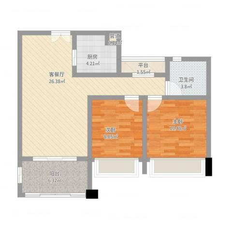 莱蒙水榭春天2室2厅1卫1厨91.00㎡户型图