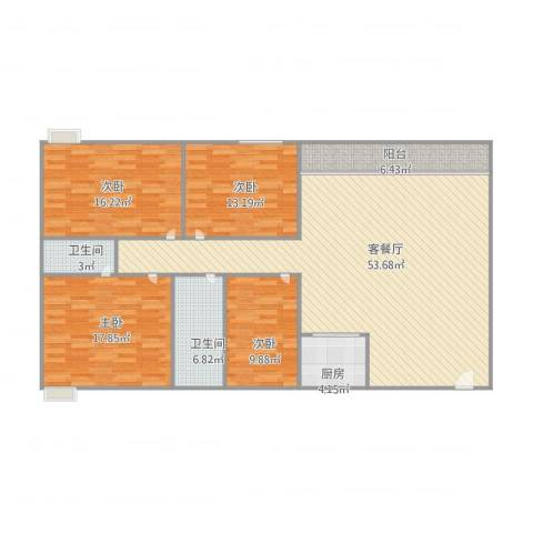 锦城花园4室2厅2卫1厨175.00㎡户型图