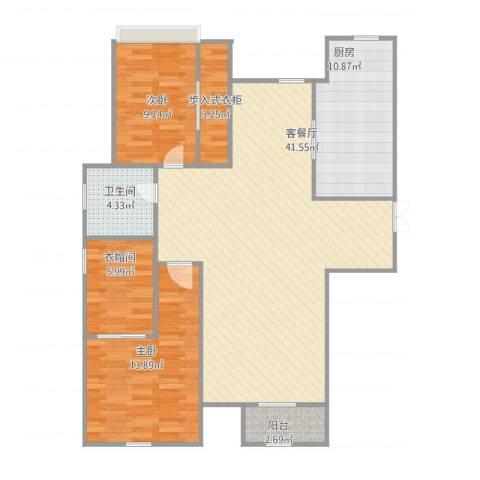 天房海天园2室2厅2卫1厨123.00㎡户型图