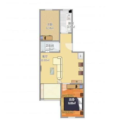 西坝河东里2室1厅1卫1厨55.00㎡户型图