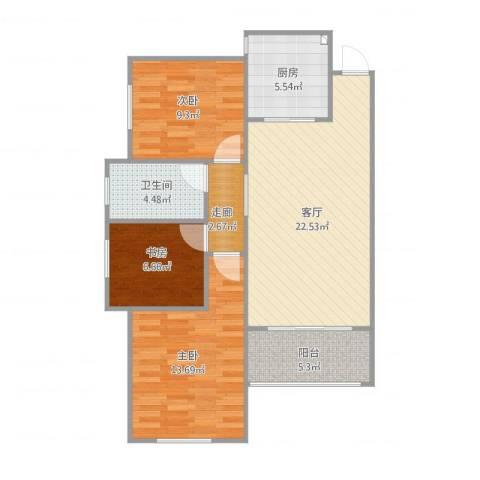 更新小区3室1厅1卫1厨95.00㎡户型图
