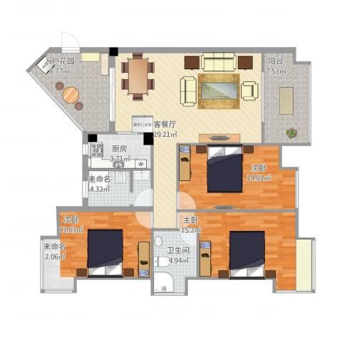 万豪尊品3室2厅2卫1厨140.00㎡户型图