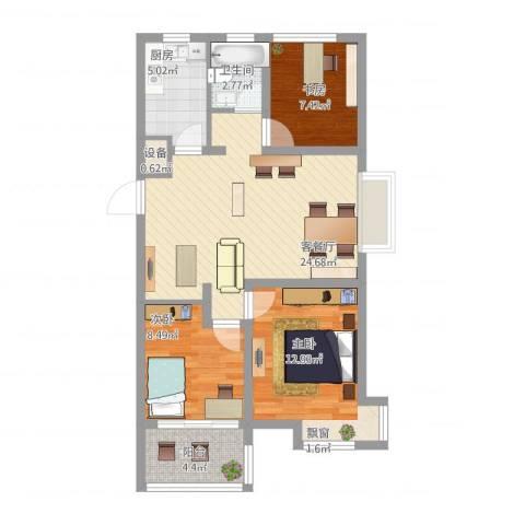 蜜橙3室2厅2卫1厨96.00㎡户型图
