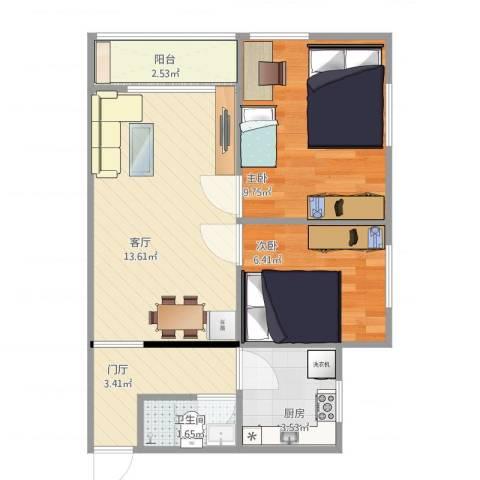 八角北里2室1厅1卫1厨56.00㎡户型图