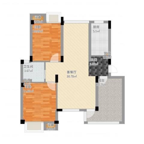港城滴水湖馨苑2室2厅3卫3厨105.00㎡户型图