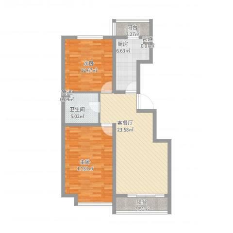 万通时代广场2室2厅1卫1厨103.00㎡户型图