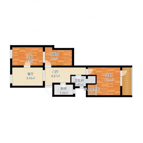 东厂胡同14号楼3室1厅1卫1厨89.00㎡户型图