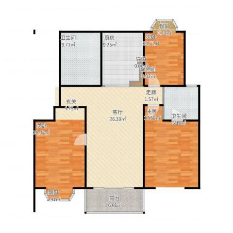 金汇广场二期2室2厅2卫1厨121.00㎡户型图
