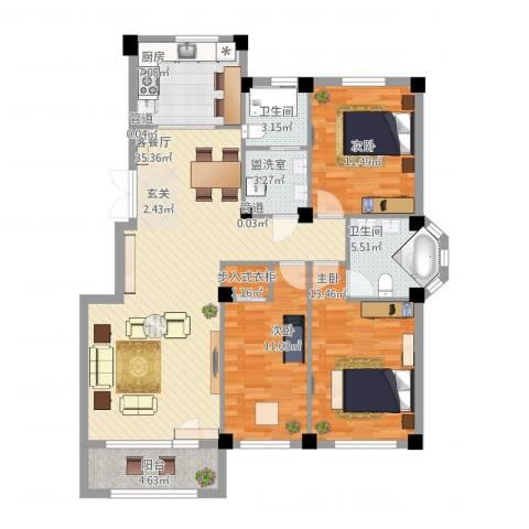 三鼎春天3室2厅2卫1厨135.00㎡户型图