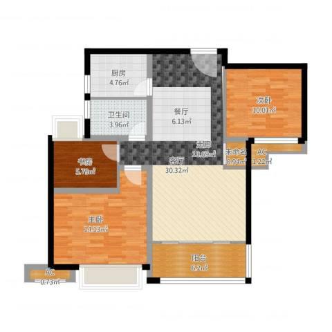 绿地玫瑰城3室1厅1卫1厨112.00㎡户型图