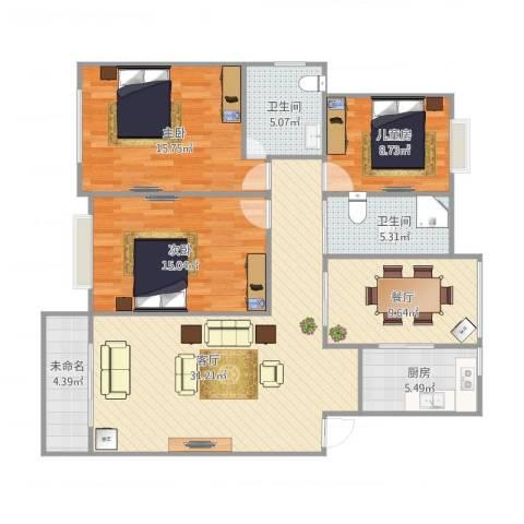 红梅小区13室2厅2卫1厨135.00㎡户型图