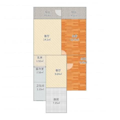 明月花园2室4厅1卫1厨89.00㎡户型图