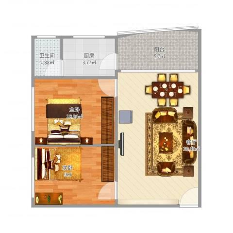 盈翠苑2室1厅1卫1厨69.00㎡户型图