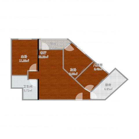 金泽大厦3室1厅1卫1厨89.00㎡户型图