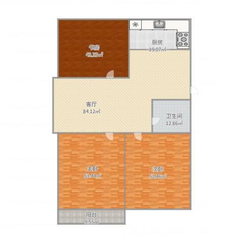 馨安苑3室1厅1卫1厨357.00㎡户型图