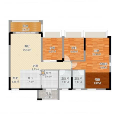 美丽湾畔花园3室2厅3卫1厨144.00㎡户型图