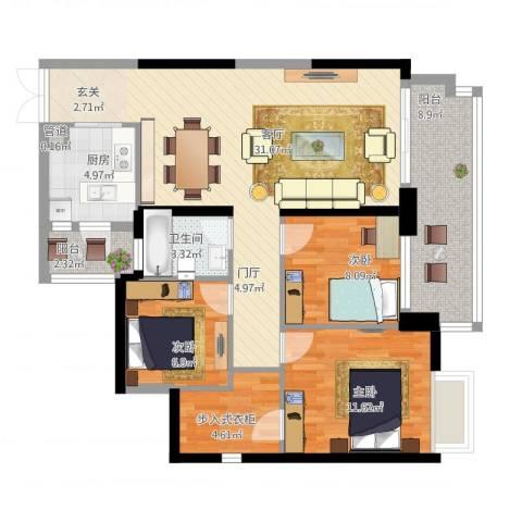 星际豪庭3室1厅2卫1厨118.00㎡户型图