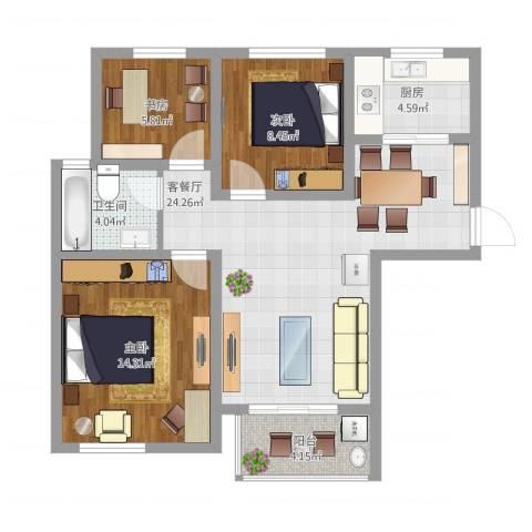 苏安新村90一3室2厅1卫1厨95.00㎡户型图