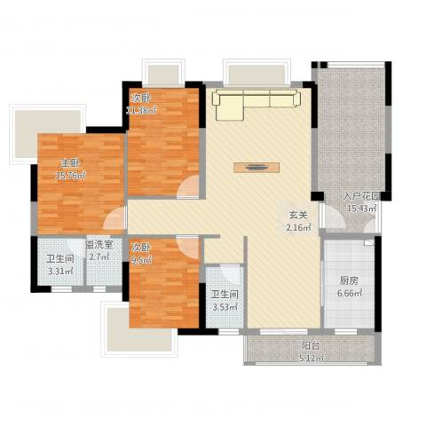 春泽上湾3室2厅2卫1厨155.00㎡户型图