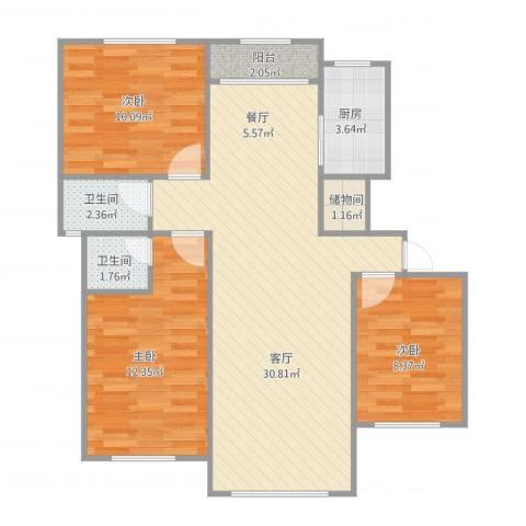 维多利华庭0013室1厅2卫1厨99.00㎡户型图