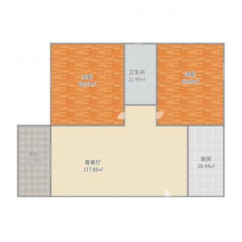 愉景花园2室2厅1卫1厨419.00㎡户型图