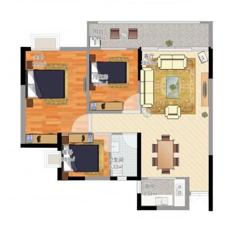 绿茵幸福城3室1厅1卫1厨103.00㎡户型图