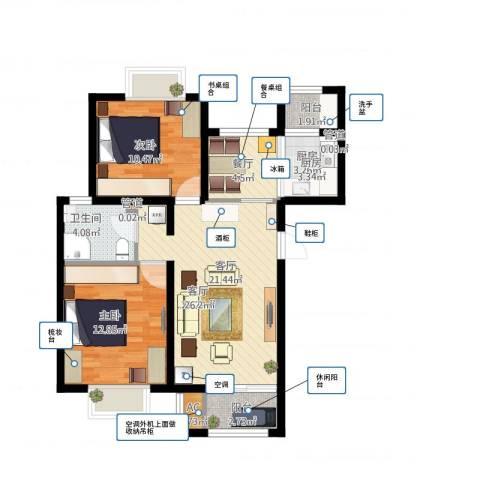 顺鑫·山语溪2室2厅1卫1厨90.00㎡户型图