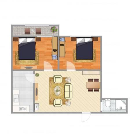 蓝天苑2室1厅1卫1厨76.00㎡户型图