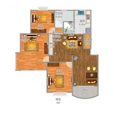 岭南苑四期3室2厅2卫1厨120.00㎡户型图