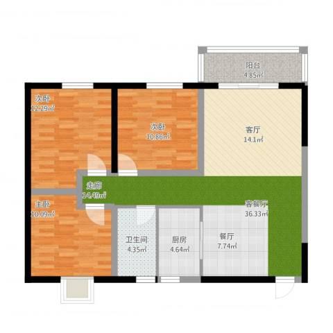 太乙城3室2厅1卫1厨119.00㎡户型图