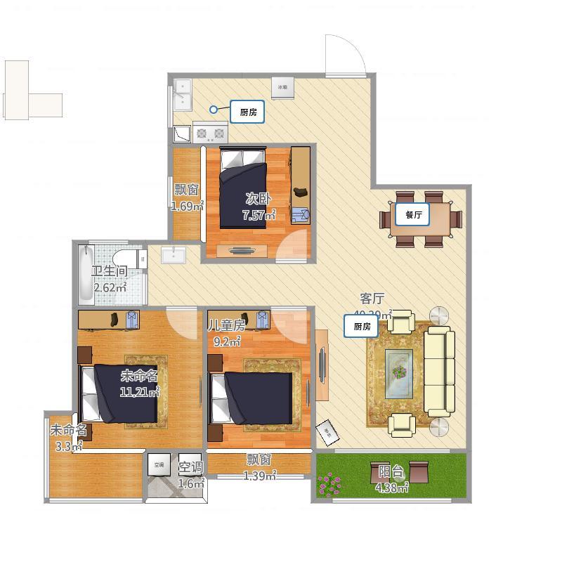 腾龙新华广场A1号楼92.57平方三房两厅一卫