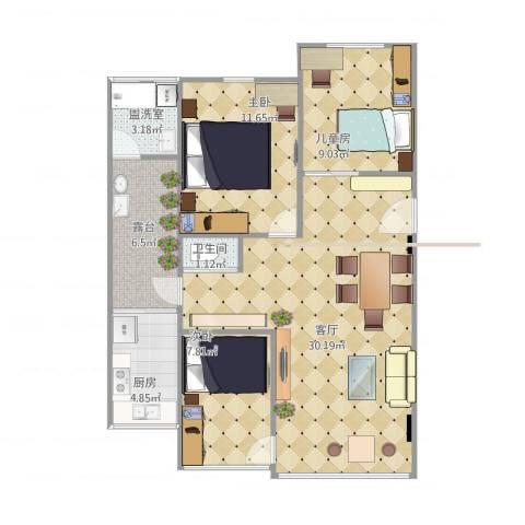 德兴园3室3厅1卫1厨100.00㎡户型图