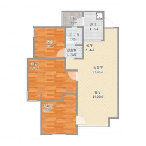 世豪广场3室2厅1卫1厨87.00㎡户型图