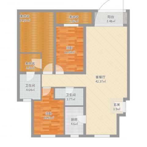 秦皇岛华润橡树湾2室2厅3卫1厨145.00㎡户型图