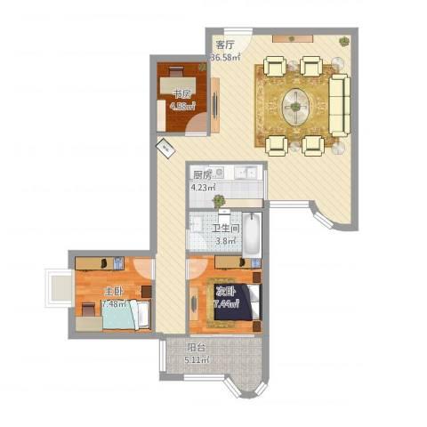 豪景花园3室1厅1卫1厨97.00㎡户型图