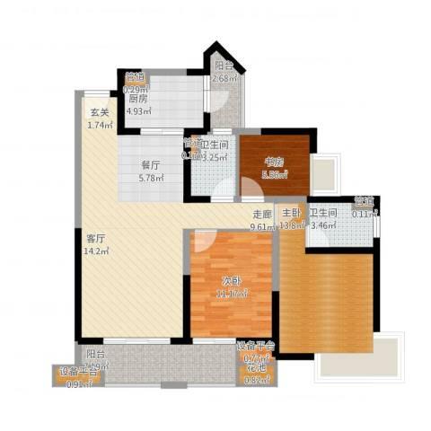 愿景品格家园3室2厅2卫1厨126.00㎡户型图