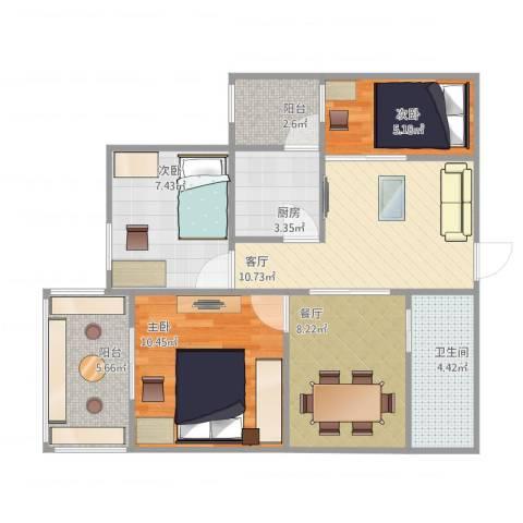 五棵松26号院3室2厅1卫1厨80.00㎡户型图