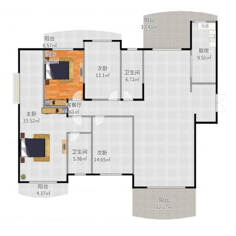 德远未来之城4室2厅2卫1厨209.00㎡户型图