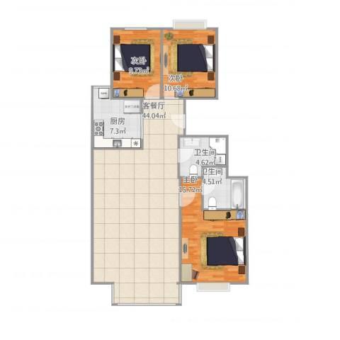 西山枫林3室2厅2卫1厨129.00㎡户型图
